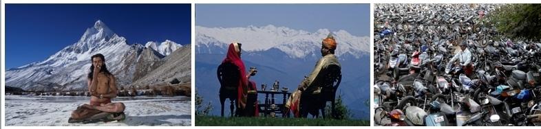 Un sage en méditation près de l'himalaya/ 2/ Tradition du thé dans une famille noble face aux montagnes de l'Himalaya/3/ Un champ de motos en plein centre ville de Delhi (photos Jean-Baptiste Rabouan)