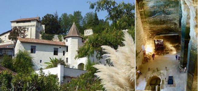 De gauche à droite : Vue en contrebas d'Aubeterre  @ C.Gary ; Hauteur impressionnante de l'église troglodyte Saint Jean d'Aubeterre sur Dronne @   C.Gary