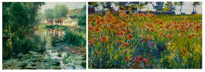 De gauche à droite : Willard Metcalf (1858-1925) Le Bassin aux nymphéas, 1887 Huile sur toile, 30,8 x 38,3 cm Chicago, Terra Foundation for American Art,  Collection Daniel J. Terra, 1993.5 © Terra Foundation for American Art, Chicago ; Robert Vonnoh (1858-1933) Coquelicots en France, 1888 Huile sur toile, 30,8 x 51,1 cm Chicago, Terra Foundation for American Art, Collection Daniel J. Terra, 1987.9 © Terra Foundation for American Art, Chicago.