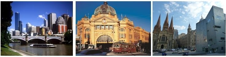 vue sur la ville de Melbourne et la rivière Yarra (photo Sylvain Grandadam) Gare victorienne de Flinder Street, Cathédrale néo-gothique Saint-Paul face à la NGV (Photos Catherine Gary)