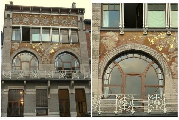 Bruxelles - Hôtel Ciamberlani, rue Defacqz. Architecte : Paul Hankar. A noter les deux fenêtres de type mauresque. @ A.Degon