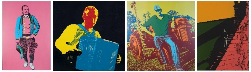 """Quelques exemples de toiles, de gauche à droite """"L'indien"""", """"Raymond à l'accordéon"""", """"Isidore Penven"""", """"Xavier Grall""""."""