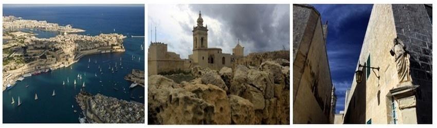 Vue aérienne sur la Valette et les trois cités soeurs de Vittoriosa,Senglea et Cospicua. Eglise de Victoria à Gozo. Mdina-Rabat, l'ancienne capitale de Malte dans le centre de l'île. (Crédit photos Tourisme Malta/Kurt Arrigo/David Raynal).