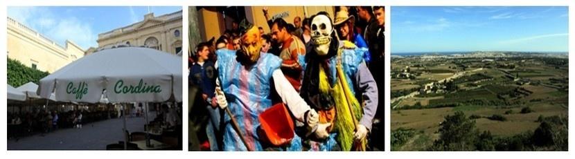 1/Place très fréquentée de La Valette. 2/ Ambiance du Carnaval qui se déroule du 8 au 12 février 2013. 3/Le Land Rover Malta Marathon, dimanche 24 février 2013 qui traversera l'île principale de Malte entre Mdina, ancienne capitale médiévale, et l'actuelle capitale La Valette. (Crédit photos Tourisme Malta et David Raynal).