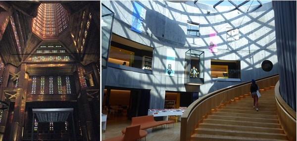 De gauche à droite : A l'intérieur  la tour-lanterne éclairée par 12768 pièces de verre colorées de Marguerite Huré . C.Gary; La bibliothèque du petit Volcan.@ C.Gary