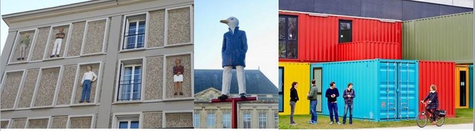 De gauche à droite : Apparitions de Stephan Balkenhol. Un été au Havre @C.Gary ; Dans le cadre d'Un été au Havre, Monsieur Goéland, une œuvre de Stephan Balkenhol @ C.Gary ; Le TETRIS au Fort de Tourneville ©Ludovic Maisant - OTAH