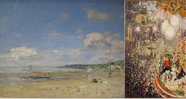 De gauche à droite : Une œuvre de la collection Eugène Boudin au MuMa @ C.Gary ; Une œuvre de Van Dongen, Le Carrousel, dans l'exposition Les Nuits électriques auMuMa. @ C.Gary