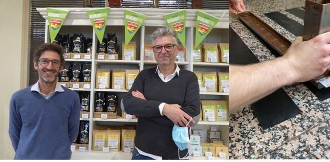 De gauche à droite : Les torréfacteurs du café Charles Danican @ C.Gary ; Au Parrain généreux. Chocolatier. @C.Gary