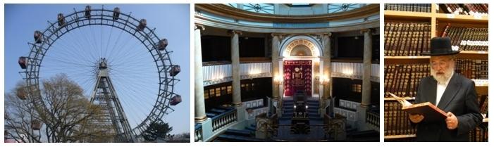 1/La grande roue sur le Prater( Photo J.Thuault) 2/Synagogue Joseph Kor, une merveille de style Biedermeier 3/ Juif religieux du quartier de Leopoldstadt (Photos André Degon)