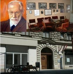 Portrait de Sigmund Freud (photo Ike) proche du Ring, au 19 de la Berggasse, se trouve la maison que  Freud a occupé pendant près d'un demi-siècle (photos André Degon)