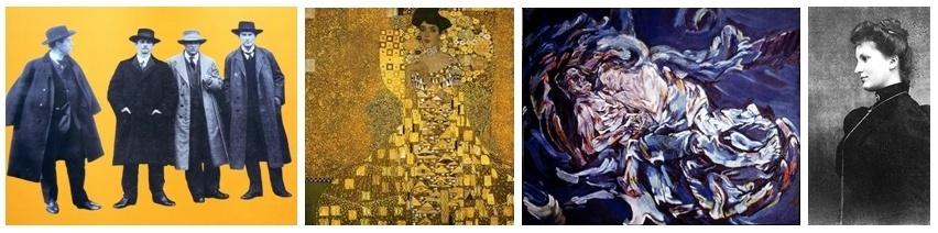"1/de gauche à droite Gustav Mahler,Alexander Zemlinsky, Arnold Schönberg et Franz Schrecker/ 2/ Peinture ""Adèle"" de Gustav Klimt/3 Peinture "" La fiancée du Vent""  d' Oskar Kokoschka  en souvenir de sa passion pour Alma Mahler/4 Alma Mahler en 1899."