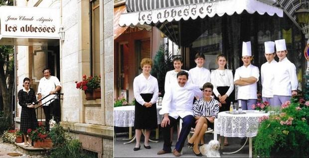 De gauche à droite : Le couple Aiguier au sein de leur second restaurant « Les Abbesses » situé au n°23 rue de la Louvière à Épinal dans les Vosges. ©F et J.C Aiguier ; Pour la première fois de leur carrière, Francine et Jean-Claude Aiguier sont aux rênes de leur propre établissement, et ce, à l'enseigne aux « Abbesses » à Remiremont dans les Vosges. ©F et J.C Aiguier