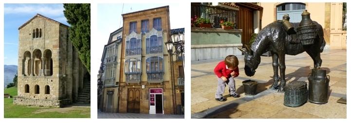 Santa Maria de Naranco, Immeuble centre ville Oviedo, Un petit garçon surpris par cet âne en bronze (photos Catherine Gary)
