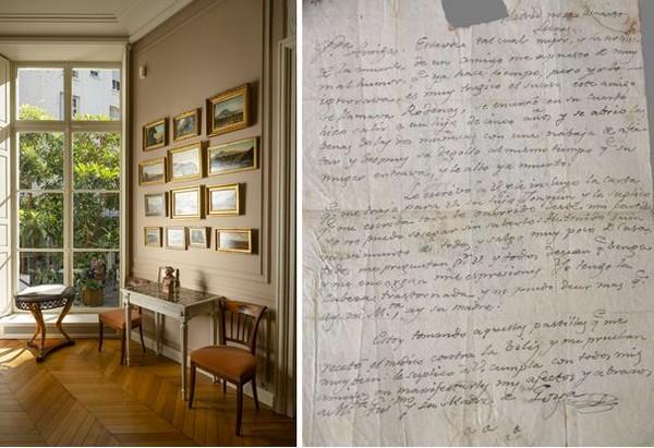 De gauche à droite vestibule @ Jannes Linders; et Francisco de Goya y Lucientes, lettre autographe signée à sa compagne Leocadia Zorilla, recto avant le 30 juillet 1827  © Fondation Custodia | Collection Frits Lugt - e-mail: coll.lugt@fondationcustodia.fr
