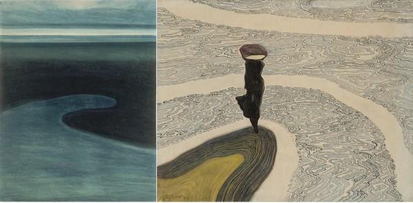 De gauche à droite -  SPilliaert Plage marée basse.© droits réservés et  Spilliaert femme au bord de l'eau photo © Cedric Verhelst
