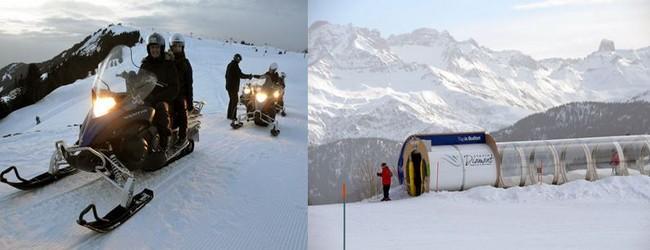 En dehors du ski alpin, les activités ne manquent pas aux Saisies comme les balades en motoneige @ David Raynal