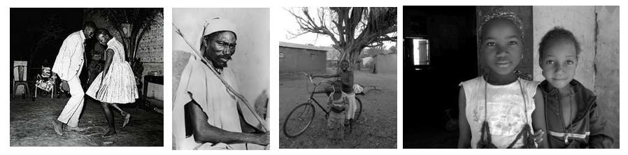 1/Jeune couple maliens dans une boîte de Bamako dans les années yéyé (Photo du célèbre photographe Malick Sidibé) 2/ Portrait  3 et 4/ Enfants maliens (photos Faustine Brunet)