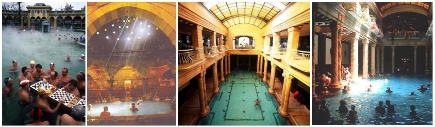 1/grands bains extérieurs Széchenyi à Pest (Photo Catherine Gary) 2 Bains Rudas intérieurs/3 et 4 Bains Gellert (Photos O.T. de Hongrie)