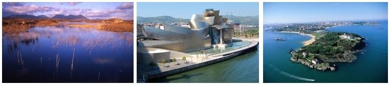 1/Paysage dans la région du Connemara 2/Musée Guggenheim à Bilbao 3/Vue d'ensemble sur la ville de Santander (Espagne) (Copyright Brittany Ferries)