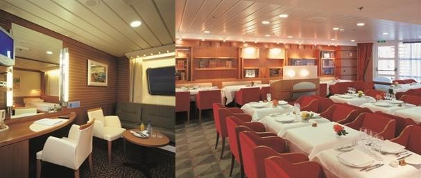 "1/Cabine Suite Commodore 2/Salle de restaurant ""Les Romantiques""  (Copyright Brittany Ferries)"