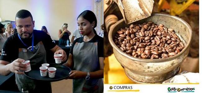 Dégustation de café lors d'un salon du tourisme à Punta Cana en République Dominicaine @ David Raynal et OT Amérique Centrale.
