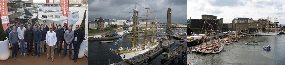 1/Les quinze skippers de la Transat Bretagne-Martinique lors de la présentation à Paris en février 2 et 3 / Pour la première fois le départ de cette Transat  sera donné depuis Brest. DR.Penduick