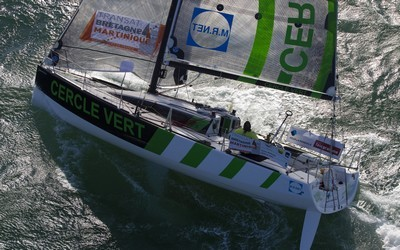 Le skipper Gildas Morvan et son inséparable et fidèle sponsor Cercle Vert. O.Courcoux