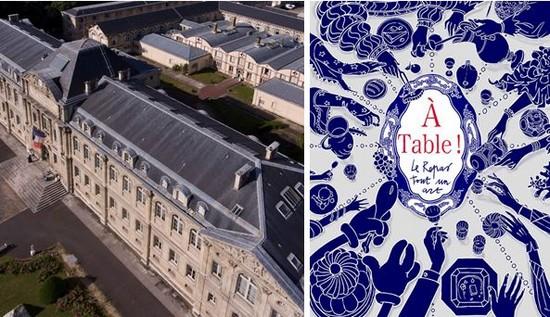 Entrée de la Manufacture de Sèvres (Hauts de Seine) - @ Manufacture de Sèvres Couverture du Catalogue de l'Exposition A Table. @ Manufacture de Sèvres