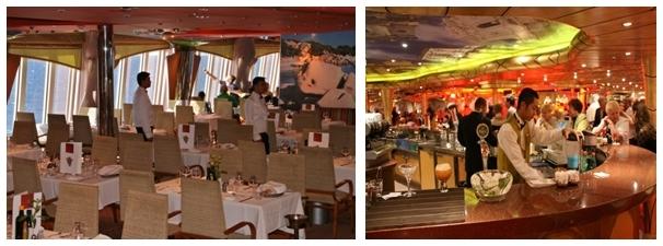 1/ Préparation pour le dîner 2/ Le bar du Costa Magica (©Patrick Cros)