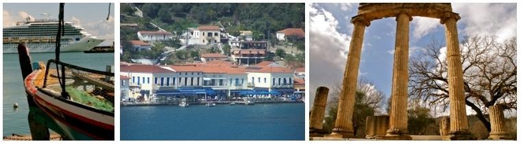 1 et 2/ Escale dans le port de Katakolon en Grèce 3/ Olympie  (©Patrick Cros)