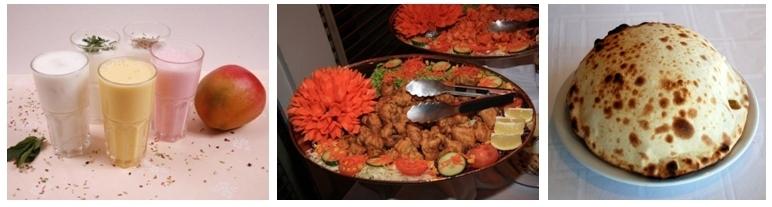 1/ Lassi aux fruits. 2/ le poulet shahi korma parfumé d'amandes, de noix de cajou et de pistaches. 3/ Naan au fromage. (Photos LD)