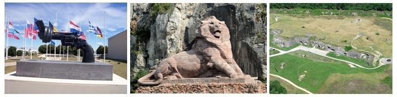 1/ Mémorial de Caen 2/ Le Lion de Belfort  3/ Fort de Douaumont, ce dernier est un fort Séré de Rivières situé sur la commune de Douaumont, près de Verdun.(Photos LD)
