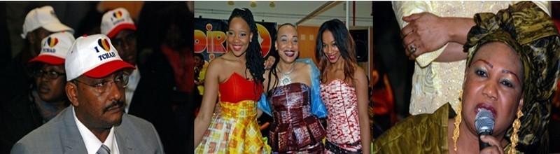 1/ Représentants tchadiens 2/la styliste malienne Marietou Dicko entourée de deux de ses filles  mannequins 3/ La griotte malienne du Manding la DIVA Kandia KOUYATE(photos David Raynal)