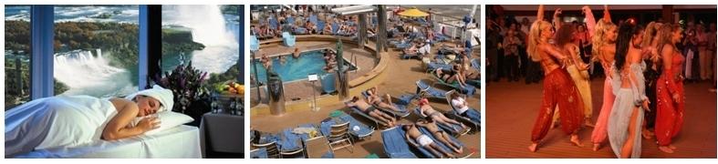 La vie à bord lors des croisières : Spa, farniente au bord d'une des piscines, soirée festive (photos Patrick Cros)