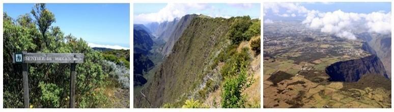 1/Le sentier du volcan 2/ Vue d'avion sur le volcan 3/ Les ravines vertigineuses en montant vers Cilaos (Photos David Raynal)