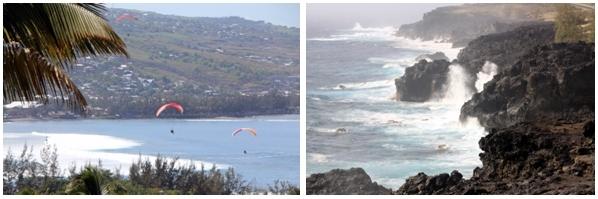 """1/Le plaisir de voler en parachute ascensionnel au-dessus de l'océan Indien 2/ La côte Ouest, déchaînée, entre Saint-Paul et l'Etang Salé et son fameux """"souffleur""""  (Photos David Raynal)"""