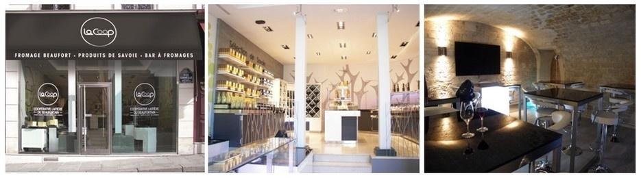 """Boutique de """"La Coop"""" à Paris, la salle où faire son marché, la cave de dégustation (photos LD)"""