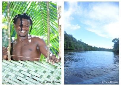 Tigana, le guide guyanais, le fleuve Kourou en pleine forêt amazonienne (photos Yann Menguy)