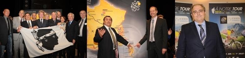 Les élus de la Corse et les organisateurs du Tour lors de la présentation officielle du parcours le 24 octobre 2013. A droite Paul Giaccobi député et président du Conseil exécutif de Corse.