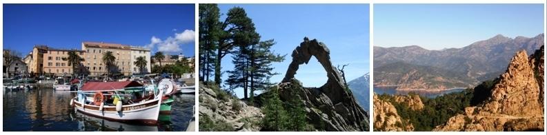 De gauche à droite, les joyaux naturels et architecturaux de la Corse, le port d'Ajaccio, l'arche de Corte, les Calanches de Piana qui sont classées au patrimoine mondial de l'Unesco (CTC / Tour de France 2013/S.Alessandri).