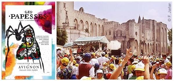 """1/L'exposition """"Les Papesses"""" présentera les oeuvres de cinq femmes artistes qui ont marqué l'art moderne et contemporain ©Avignon Tourisme 2/ La foule de spectateurs en plein festival (photo F.Jarlan)"""