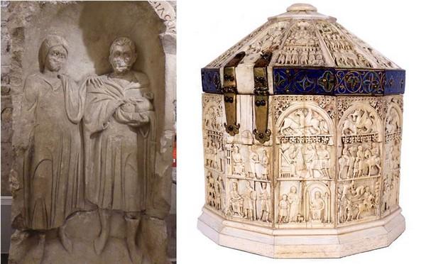 De gauche à droite :  Stèles funéraires Musées de Sens .jC.Gary ; Sainte Châsse, coffret reliquaire, ivoire, cuivre, cèdre, émail, 13e siècle. Musées de Sens – E. Berry