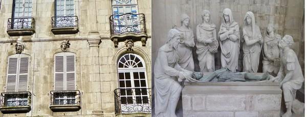 De gauche à droite : Porte de Sens à Villeneuve-sur-Yonne©Adeline Gauthier ; Mise au tombreau XVIè siècle dans l'église ND de l'Assomption à Villefranche @ C.Gary