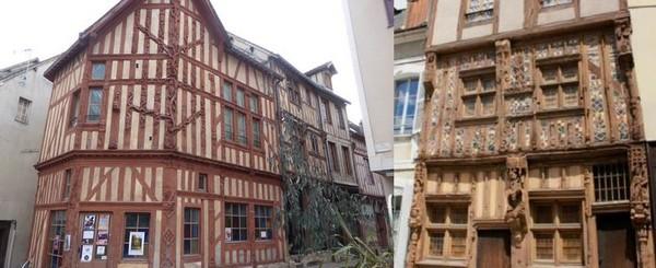 les deux plus belles maisons à pans de bois de la ville de Joigny : celle de l'arbre de Jessé et sa généalogie sculptée du Christ et la Maison dite du Pilori @ C.Gary