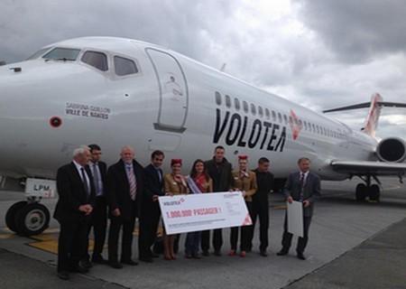La Cie Volotea fête son millionième passager sur la plate-forme Nantaise. (photo D.R.)