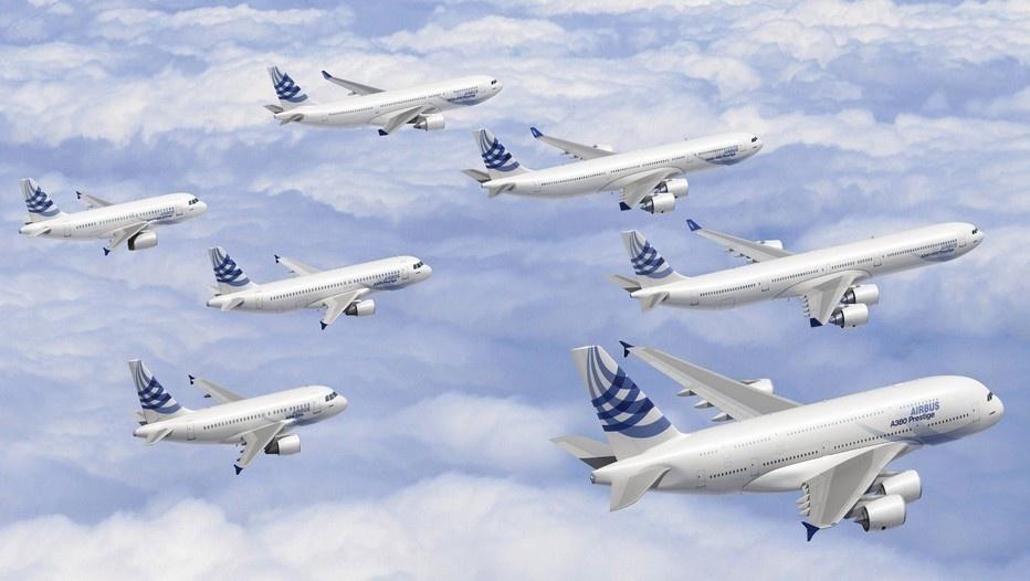 Toute la Gamme d'Avions du Constructeur Airbus en Vol et en Formation (Photo D.R.)