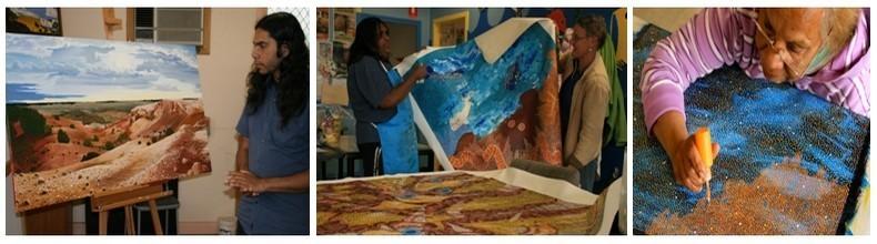 Peintres aborigène de l'Aboriginal arts & Culture Centre de Ceduna (Australie du Sud), entre Adélaide et Perth ©Patrick Cros