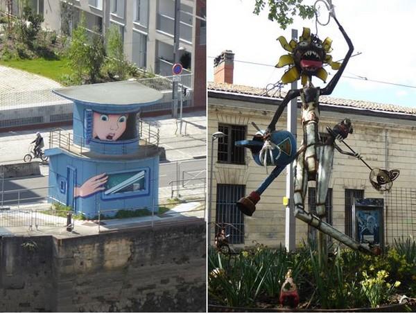 Street art Alice aux Pays des Merveilles à l'entrée des Bassins à Flots @ C.Gary  et  Les Vivres de l'art Sculptures dans l'espace des Vivres de l'Art  @ C.Gary
