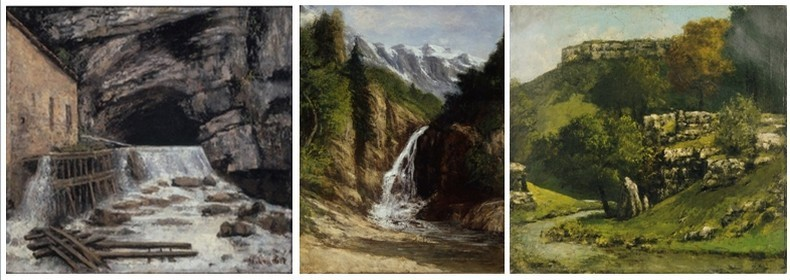 Trois célèbres toiles de Courbet : 1/ La source de la Loue. Cette œuvre poétique relie le peintre, admirateur de la nature et de sa terre natale, au lieu célèbre de la vallée d'Ornans, la grotte d'où s'échappe la rivière.  2/ La cascade Ornans  3/ Paysage du Jura  (Photos Institut Gustave Courbet)