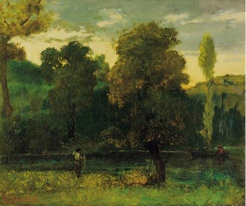 """"""" Promenade en bâteau """"  (photo Institut Gustave Courbet).Sur la rivière de la Loue, sur une barque à fond plat, une femme assise, rêveuse, semble attendre le jeune homme qui relève son filet de pêcheur, debout à gauche du tableau."""